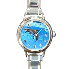 Jumping Dolphin Round Italian Charm Watch by dropshipcnnet