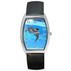 Jumping Dolphin Barrel Style Metal Watch