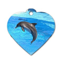 Jumping Dolphin Dog Tag Heart (one Side) by dropshipcnnet