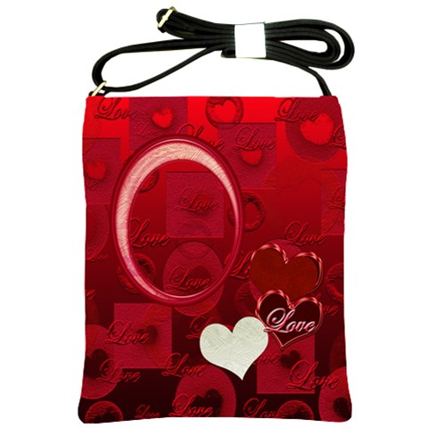 Red Love Heart Sling Bag By Ellan   Shoulder Sling Bag   Zfpaiiztbq26   Www Artscow Com Front
