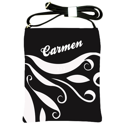 Black And White   Shoulder Sling Bag By Carmensita   Shoulder Sling Bag   Pabuw3028km3   Www Artscow Com Front