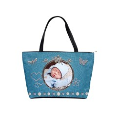 Pretty Blue Sparkle Classic Shoulder Handbag By Lil    Classic Shoulder Handbag   Gll0rduyirbx   Www Artscow Com Front