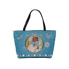 Pretty Blue Sparkle Classic Shoulder Handbag By Lil    Classic Shoulder Handbag   Gll0rduyirbx   Www Artscow Com Back