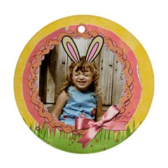 Easter Ornament With Bunny Ears  2 Sides, Template By Mikki   Round Ornament (two Sides)   1vlb6eb4ehii   Www Artscow Com Front