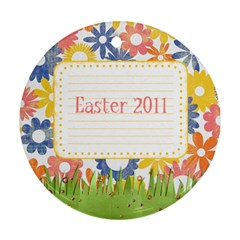 Easter Ornament With Bunny Ears  2 Sides, Template By Mikki   Round Ornament (two Sides)   1vlb6eb4ehii   Www Artscow Com Back