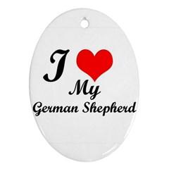 I Love My Beagle Ornament (oval)