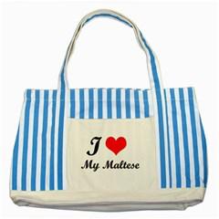 I Love My Beagle Striped Blue Tote Bag by free