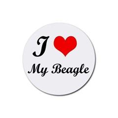 I Love My Beagle Rubber Coaster (round)