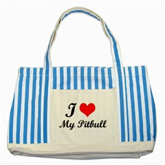 I Love My Beagle Striped Blue Tote Bag by vipstores
