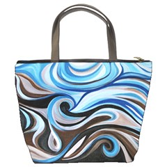 Blue&brown Swirls Bucket Bag By Bags n Brellas   Bucket Bag   3b00nxq2jb7e   Www Artscow Com Back