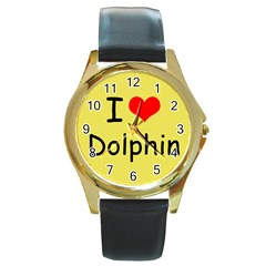 I Love Dolphin Black Leather Gold Rim Watch (round) by CowCowDemo