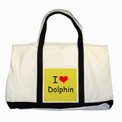 I Love Dolphin Two Toned Tote Bag