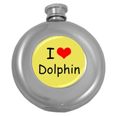 I Love Dolphin Hip Flask (round) by CowCowDemo