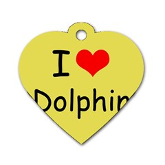 I Love Dolphin Twin Sided Dog Tag (heart) by CowCowDemo
