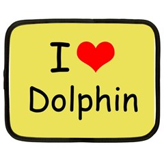 I Love Dolphin 13  Netbook Case by CowCowDemo
