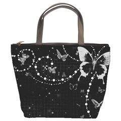 Black And White Butterflies Bucket Bag By Bags n Brellas   Bucket Bag   Izrohwqsulm5   Www Artscow Com Front