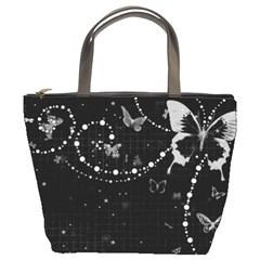 Black And White Butterflies Bucket Bag By Bags n Brellas   Bucket Bag   Izrohwqsulm5   Www Artscow Com Front