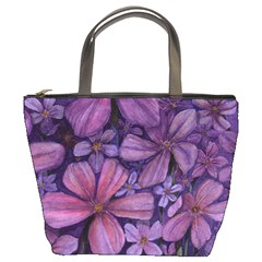 Purple Flowers Bucket Bag By Bags n Brellas   Bucket Bag   B8e8fepvsl3c   Www Artscow Com Front
