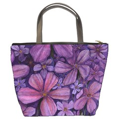 Purple Flowers Bucket Bag By Bags n Brellas   Bucket Bag   B8e8fepvsl3c   Www Artscow Com Back