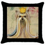 Yorkie Valentine Princess Throw Pillow Case (Black)