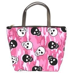 Pink Skull4 Bucket Bag By Bags n Brellas   Bucket Bag   52081og62ra8   Www Artscow Com Front