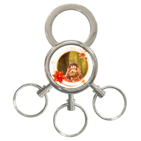 Flower Circle By Wood Johnson   3 Ring Key Chain   Cyrathodmibw   Www Artscow Com Front