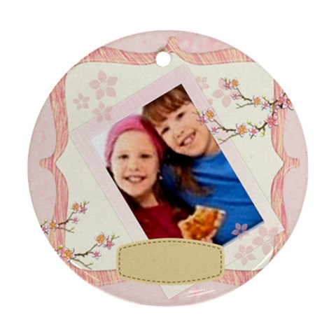 Happy Kids By Wood Johnson   Ornament (round)   46gvaf2d4fzw   Www Artscow Com Front