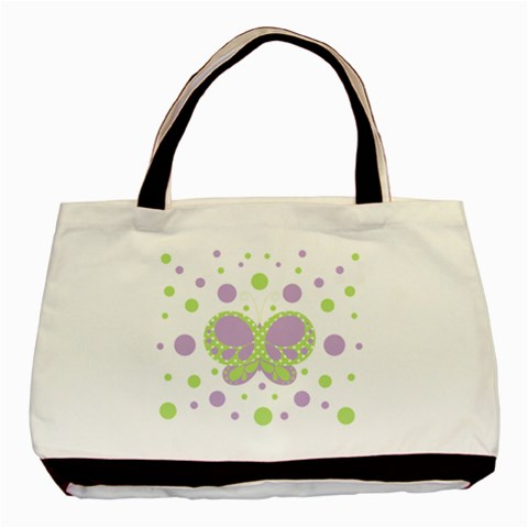 Butterfly Dots Purple Green Custom Classic Tote Bag  By Andreas Lil Pixels   Basic Tote Bag   68qo8o13bo7y   Www Artscow Com Front