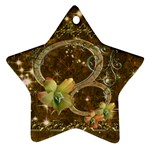 Double oval gold star flower ornament - Ornament (Star)