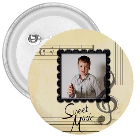 Sweet Music 3 Inch Button Badge By Catvinnat   3  Button   K1kwjbw7behc   Www Artscow Com Front