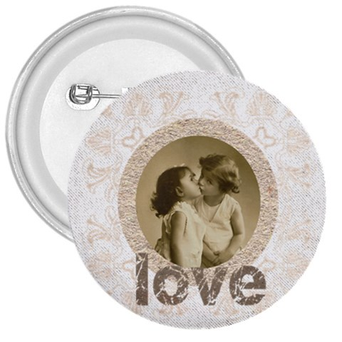 Love 3 Inch Button Badge By Catvinnat   3  Button   Ui6tp8tibhzf   Www Artscow Com Front
