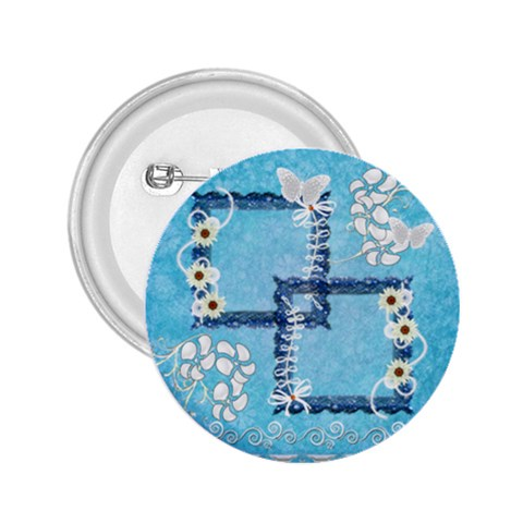 Blue Flower Button By Ellan   2 25  Button   Zbo2yqvljzip   Www Artscow Com Front