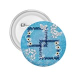 Blue flower button - 2.25  Button