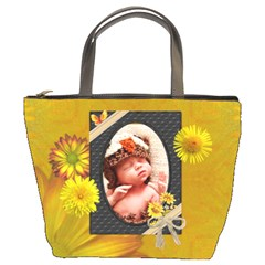 Pretty Yellow Floral Bucket Bag By Lil    Bucket Bag   T3bfm9dm156k   Www Artscow Com Front