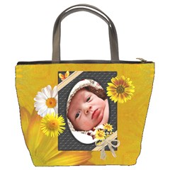 Pretty Yellow Floral Bucket Bag By Lil    Bucket Bag   T3bfm9dm156k   Www Artscow Com Back