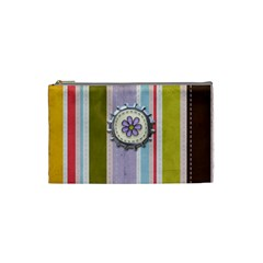 Spring Flower Stripe Small Cosmetic Bag By Redhead Scraps   Cosmetic Bag (small)   1m2a20gd01gd   Www Artscow Com Front