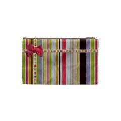 Spring Flower Stripe Small Cosmetic Bag By Redhead Scraps   Cosmetic Bag (small)   1m2a20gd01gd   Www Artscow Com Back