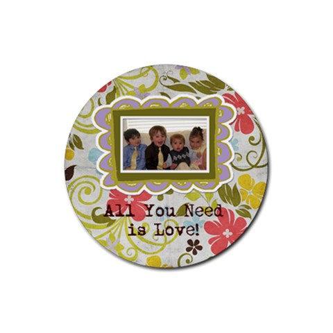 Spring Easter Floral Coasters By Redhead Scraps   Rubber Round Coaster (4 Pack)   Gi703imbyadm   Www Artscow Com Front