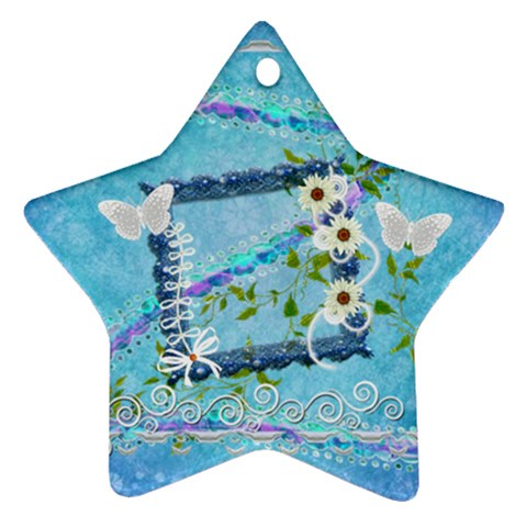 Blue Floral 2011 Pastel Flower Ornament By Ellan   Ornament (star)   Vsja1lig5ofv   Www Artscow Com Front
