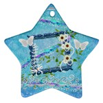 Blue floral 2011 Pastel Flower ornament - Ornament (Star)