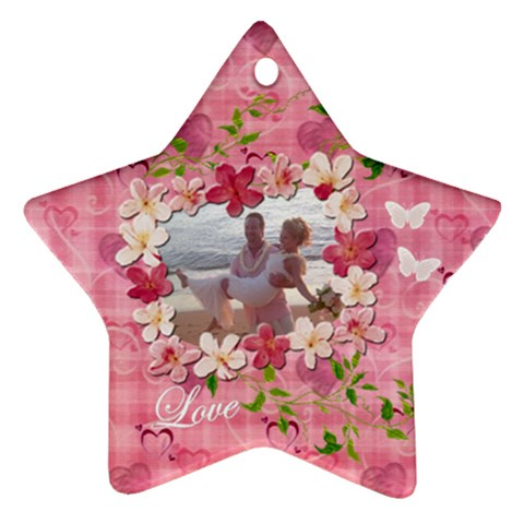 Love Hearts N Flowers Pastel Ornament By Ellan   Ornament (star)   Ztthhvuk9dor   Www Artscow Com Front