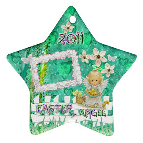 Easter Angel 2011 Pastel Flower Ornament By Ellan   Ornament (star)   R5gl59jmbylh   Www Artscow Com Front