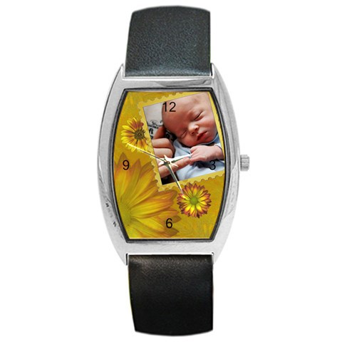 Yellow Floral Barrel Style Watch By Lil    Barrel Style Metal Watch   H4ygm1dsbdru   Www Artscow Com Front