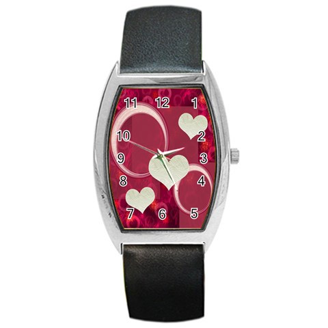 I Heart You Pink Custom Barrel Watch By Ellan   Barrel Style Metal Watch   Iy1e0f46zwef   Www Artscow Com Front