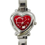 I Heart You Red Custom Heart Italian Charm Watch