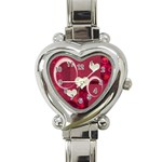 I Heart You Pink Custom Heart Italian Charm Watch