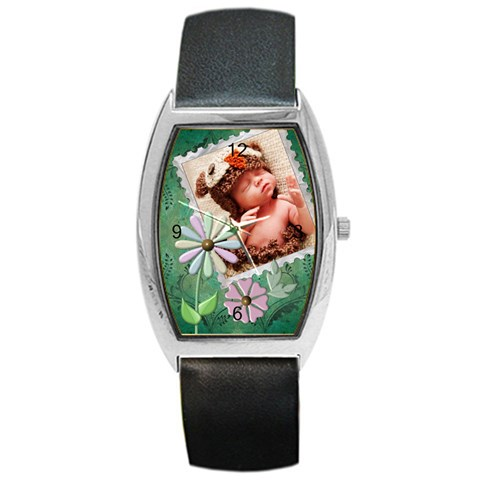Green Floral Barrel Style Metal Watch By Lil    Barrel Style Metal Watch   Omgr6fi8t8ga   Www Artscow Com Front