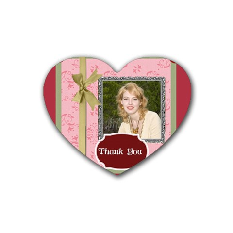 Thank You By Joely   Rubber Coaster (heart)   Ye10lmduw3w1   Www Artscow Com Front