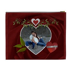 Red Rose Hearts Xl Cosmetic Bag By Lil    Cosmetic Bag (xl)   Eikwg8n28itd   Www Artscow Com Back