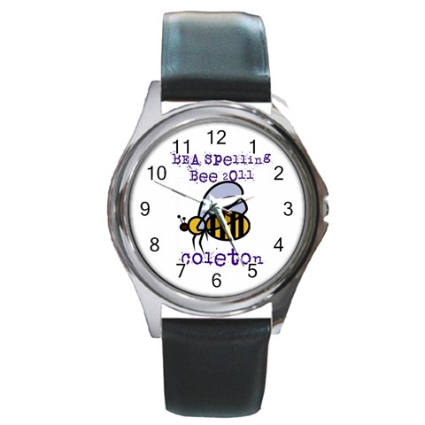 Spelling Bee Watch By Chantel Reid Demeter   Round Metal Watch   9do66zh8q70u   Www Artscow Com Front